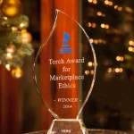 "Better Business Bureau of San Diego 2014 ""Torch Award for Marketplace Ethics"" awarded to Vows from The Heart Ministries (dba Say I Do Again™)"