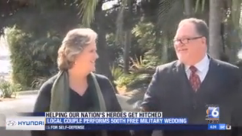 LOCAL COUPLE PERFORMS 500TH FREE MILITARY WEDDING