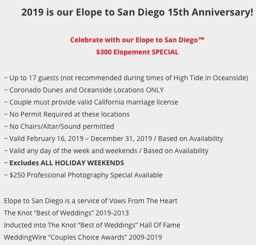 Elope to San Diego | Elope San Diego | www.elopetosandiego.com. | (619) 66-ELOPE | (619) 663-5673